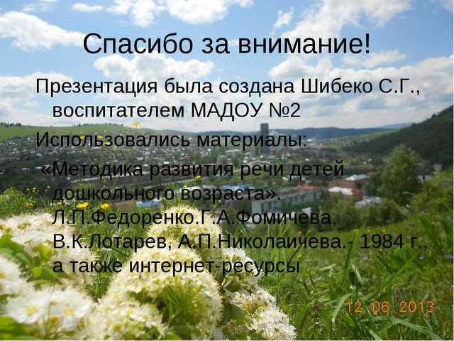 Спасибо за внимание! Презентация была создана Шибеко С.Г., воспитателем МАДОУ...