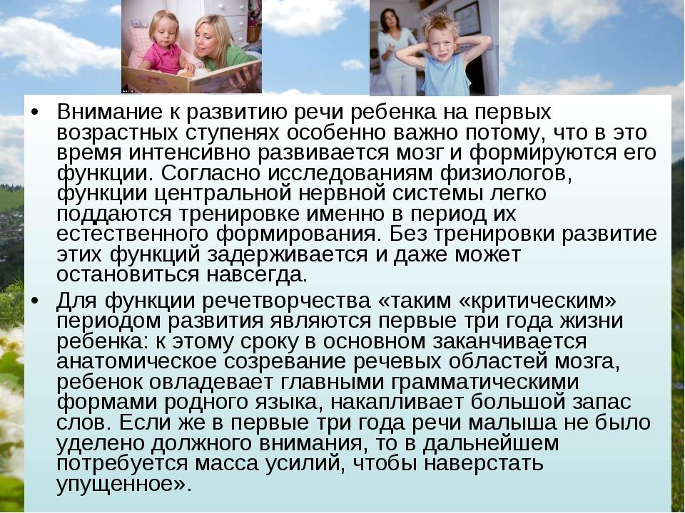 Внимание к развитию речи ребенка на первых возрастных ступенях особенно важно...