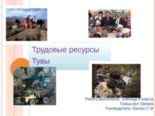 Трудовые ресурсы Тувы Работу выполнила: ученица 9 класса Токаш-оол Орлана Ру