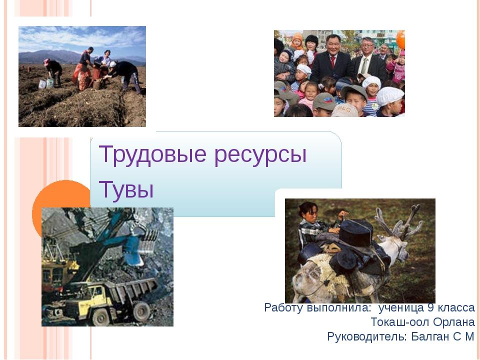 Трудовые ресурсы Тувы Работу выполнила: ученица 9 класса Токаш-оол Орлана Ру...