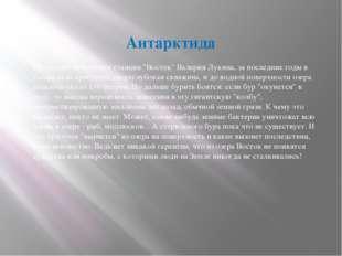 "Антарктида По словам начальника станции ""Восток"" Валерия Лукина, за последни"