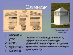 Эллинизм Карниз и угол Фриз Архитрав Капитель Галикарнасский мавзолей 1 2 3 4