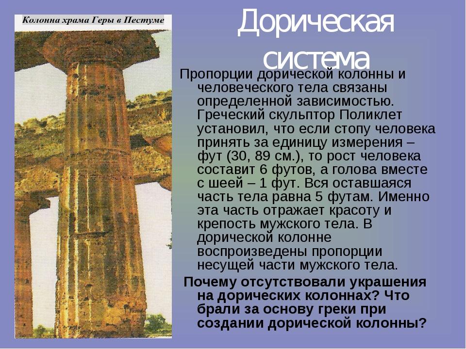 Дорическая система Пропорции дорической колонны и человеческого тела связаны...