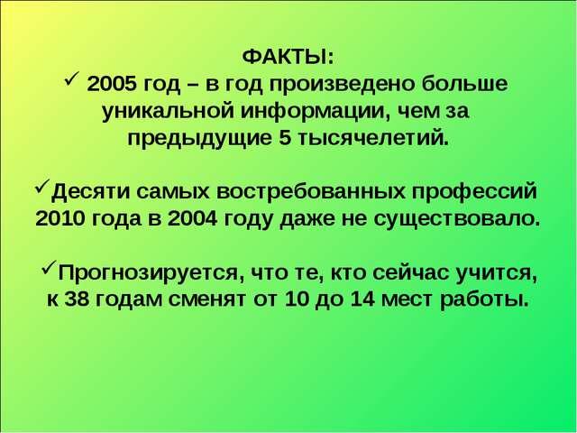 ФАКТЫ: 2005 год – в год произведено больше уникальной информации, чем за пред...
