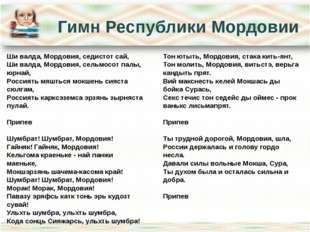 Гимн Республики Мордовии Ши валда, Мордовия, седистот сай, Ши валда, Мордовия
