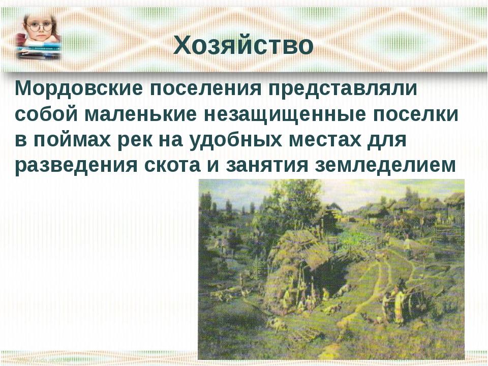 Хозяйство Мордовские поселения представляли собой маленькие незащищенные посе...