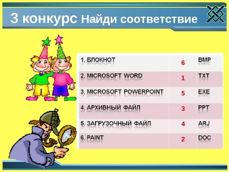 3 конкурс Найди соответствие 6 1 5 3 4 2