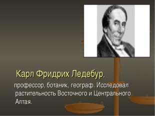 Карл Фридрих Ледебур, профессор, ботаник, географ. Исследовал растительность