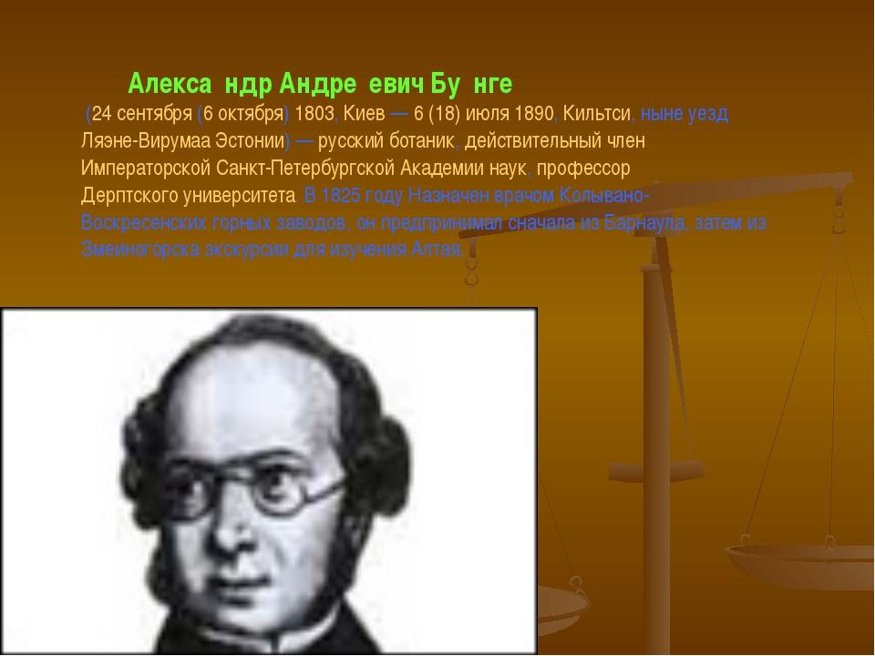 Алекса́ндр Андре́евич Бу́нге (24 сентября (6 октября) 1803, Киев — 6(18) ию...