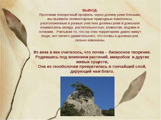 ВЫВОД: Проложив поперечный профиль через долину реки Клязьма, мы выявили элем...