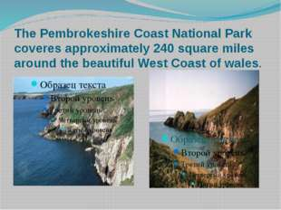 The Pembrokeshire Coast National Park coveres approximately 240 square miles
