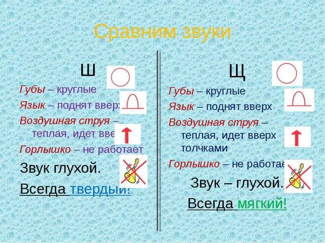 Сравним звуки Ш Губы – круглые Язык – поднят вверх Воздушная струя – теплая,...