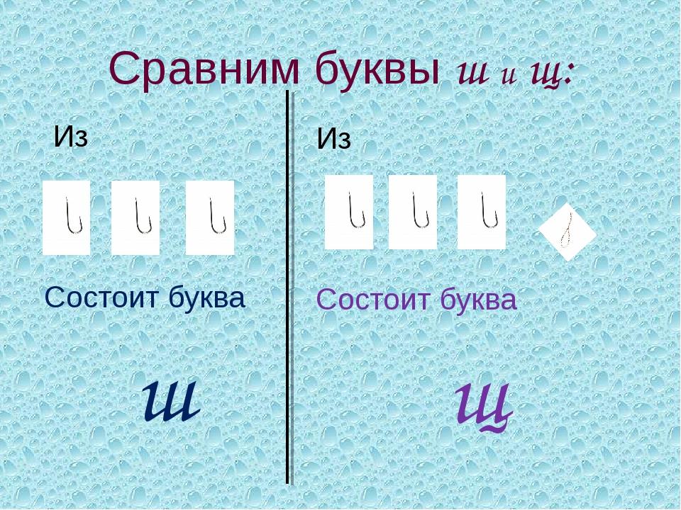 Сравним буквы ш и щ: Из Состоит буква ш Из Состоит буква щ