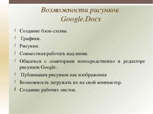 Возможности рисунков Google.Docs Создание блок-схемы. Графики. Рисунки. Совме