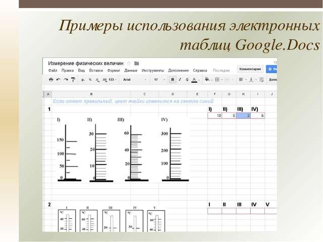 Примеры использования электронных таблиц Google.Docs