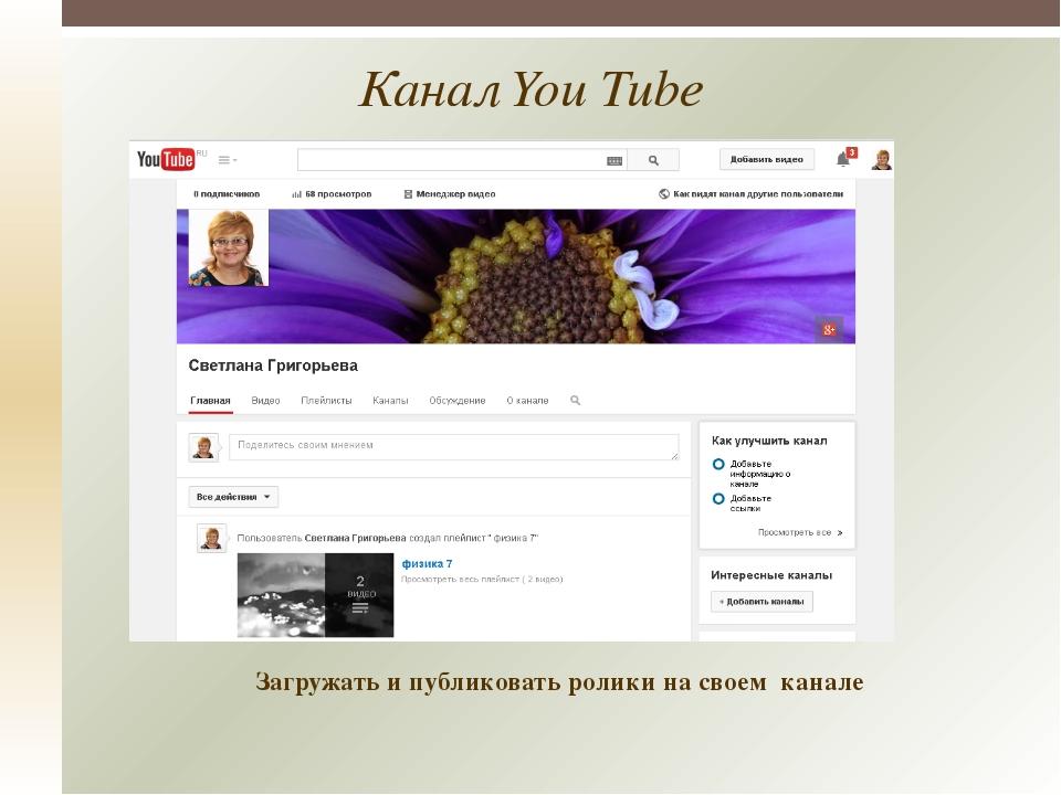 Канал You Tube Загружать и публиковать ролики на своем канале
