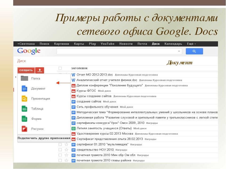 Примеры работы с документами сетевого офиса Google. Docs Документ