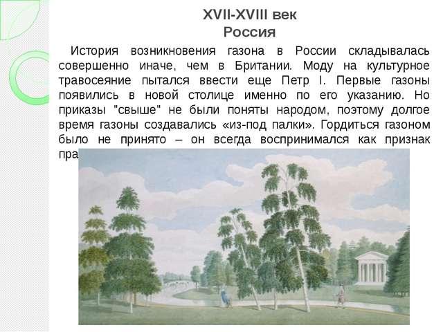 XVII-XVIII век Россия История возникновения газона в России складывалась сове...