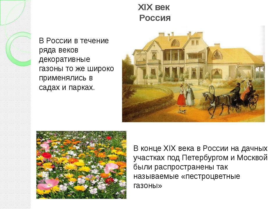 XIX век Россия В России в течение ряда веков декоративные газоны то же широко...