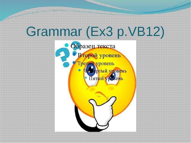 Grammar (Ex3 p.VB12)