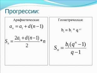 Прогрессии: Арифметическая: Геометрическая: bn = b1 * q n-1