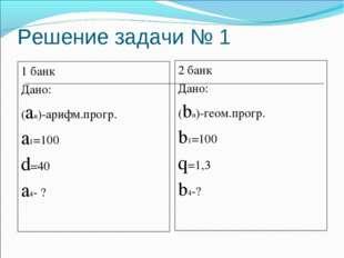 Решение задачи № 1 1 банк Дано: (an)-арифм.прогр. a1=100 d=40 a4- ? 2 банк Да