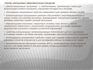 Группы электронных образовательных ресурсов: • Демонстрационные программы и