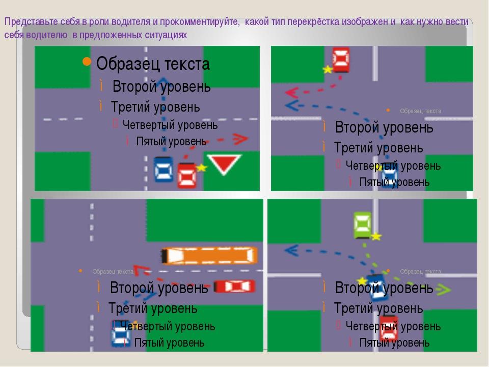 Представьте себя в роли водителя и прокомментируйте, какой тип перекрёстка из...
