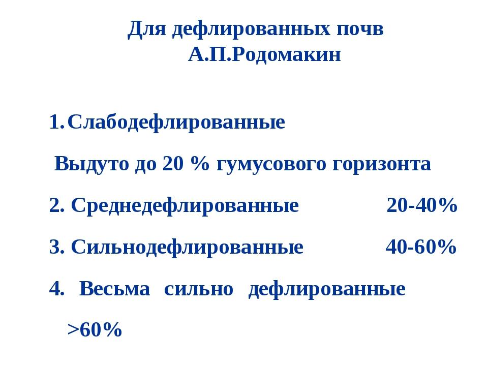 Для дефлированных почв А.П.Родомакин Слабодефлированные Выдуто до 20 % гумусо...