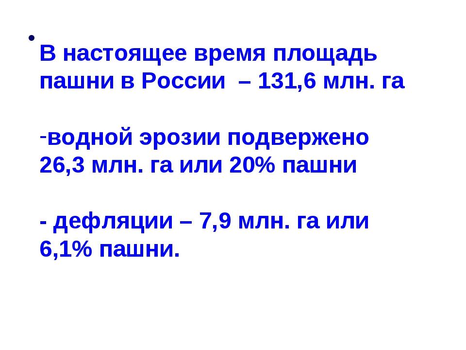 В настоящее время площадь пашни в России – 131,6 млн. га водной эрозии подве...