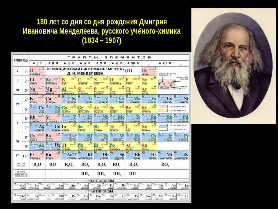 180 лет со дня со дня рождения Дмитрия Ивановича Менделеева, русского учёного...
