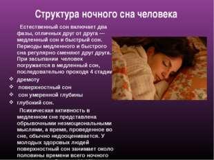Структура ночного сна человека Естественный сон включает два фазы, отличных д