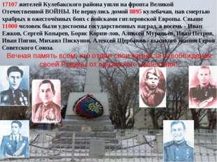 17107 жителей Кулебакского района ушли на фронта Великой Отечественной ВОЙНЫ.