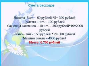Лопаты 5шт. – 60 рублей *5= 300 рублей Рулетка 1 шт. – 100 рублей Саженцы каш