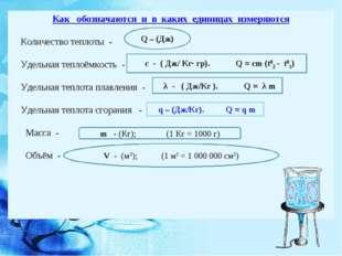 Как обозначаются и в каких единицах измеряются Количество теплоты - Удельная