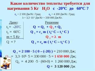 Дано: Решение t1 = -20ºC Q = Q1 + Q 2 + Q3 t2 = 60ºC Q 1 = cл m ( t0o C – t1