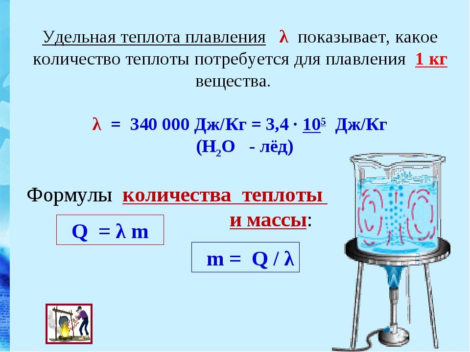 Удельная теплота плавления λ показывает, какое количество теплоты потребуетс...
