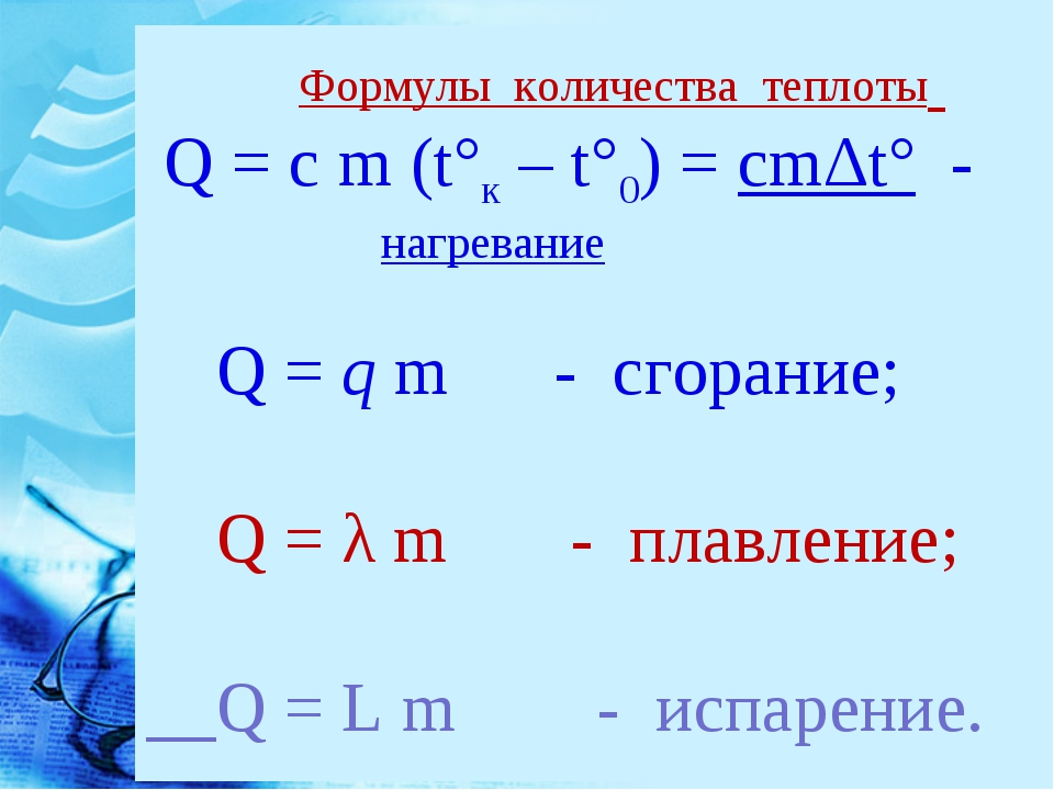 Формулы количества теплоты Q = c m (t°к – t°0) = cmΔt° - нагревание Q = q m...