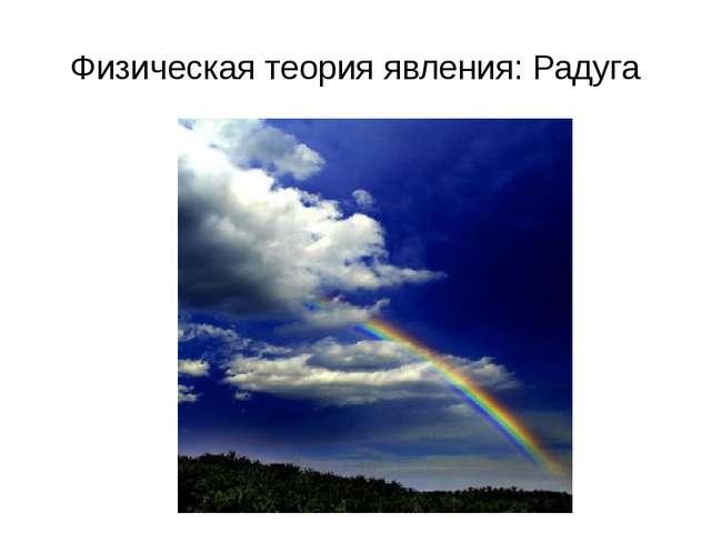Физическая теория явления: Радуга Наверное, каждый из нас хотя бы однажды люб...