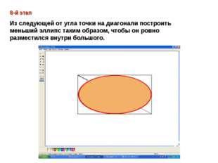 8-й этап Из следующей от угла точки на диагонали построить меньший эллипс так