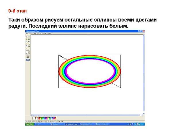 9-й этап Таки образом рисуем остальные эллипсы всеми цветами радуги. Последни...