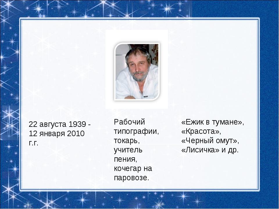 22 августа 1939 - 12 января 2010 г.г. Рабочий типографии, токарь, учитель пен...