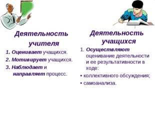 Деятельность учителя 1. Оценивает учащихся. 2. Мотивирует учащихся. 3. Наблюд