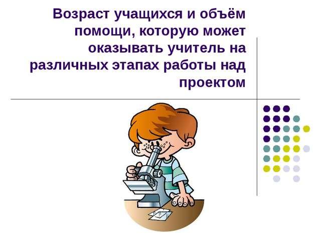 Возраст учащихся и объём помощи, которую может оказывать учитель на различных...