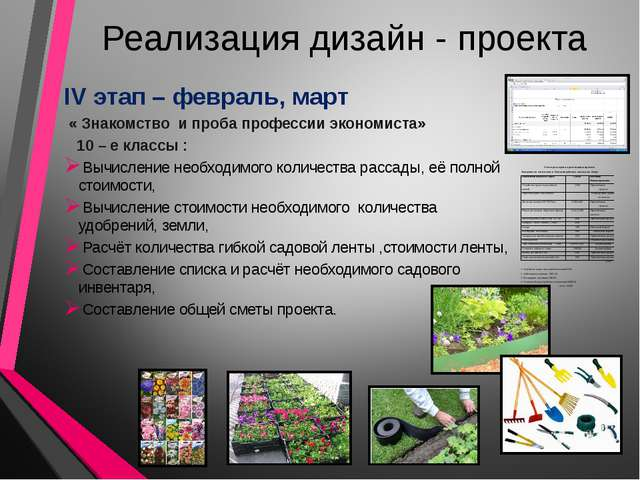Реализация дизайн - проекта IV этап – февраль, март « Знакомство и проба проф...