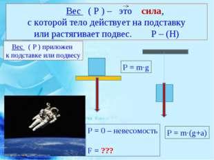 Вес ( Р ) – это сила, с которой тело действует на подставку или растягивает