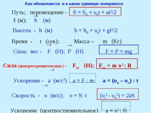 Как обозначаются и в каких единицах измеряются Путь; перемещение - S = S0 + υ