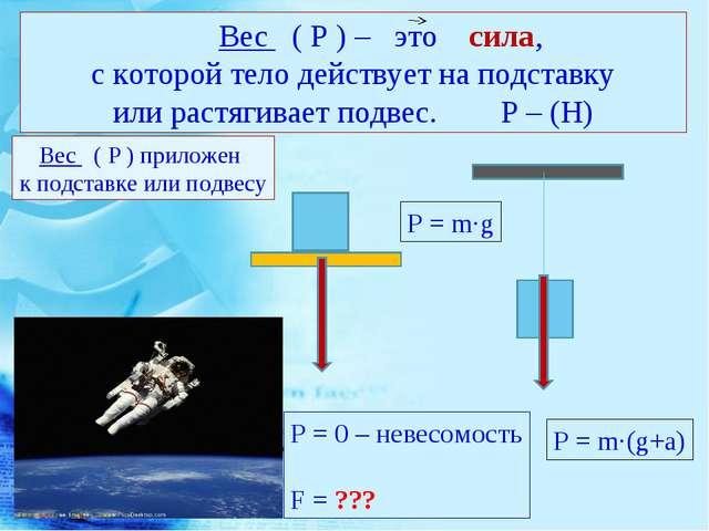 Вес ( Р ) – это сила, с которой тело действует на подставку или растягивает...