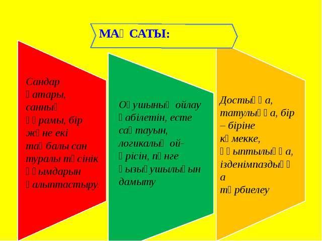 МАҚСАТЫ: Сандар қатары, санның құрамы, бір және екі таңбалы сан туралы түсіні...