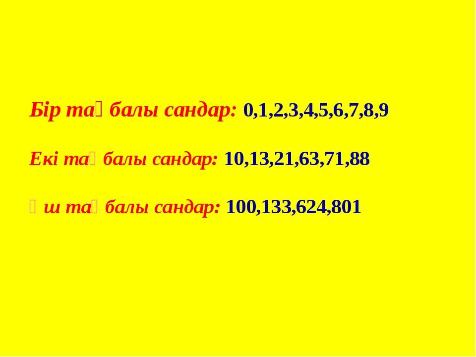 Бір таңбалы сандар: 0,1,2,3,4,5,6,7,8,9 Екі таңбалы сандар: 10,13,21,63,71,88...